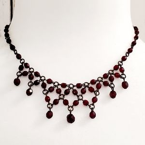 Vintage Red Beaded Lace Copper Necklace